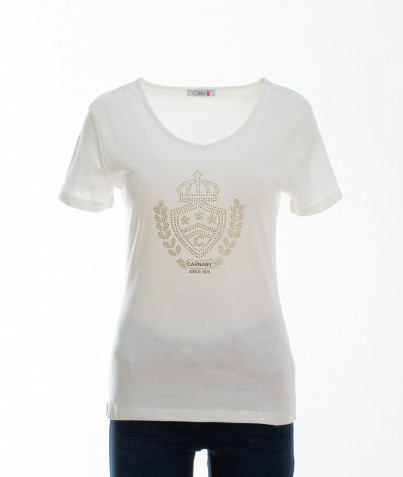 T-Shirt 100% Coton Écusson en Strass 3 Coloris