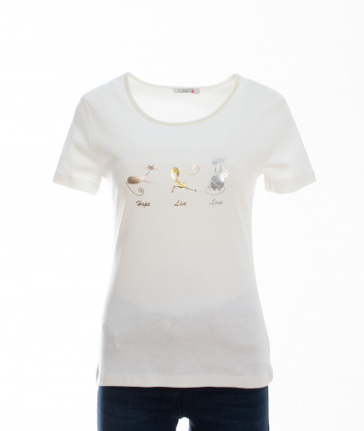 T-Shirt 100% Coton Trio Chat Lurex 3 Coloris