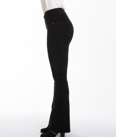 Pantalon Velours Côtelé Noir Bootcut