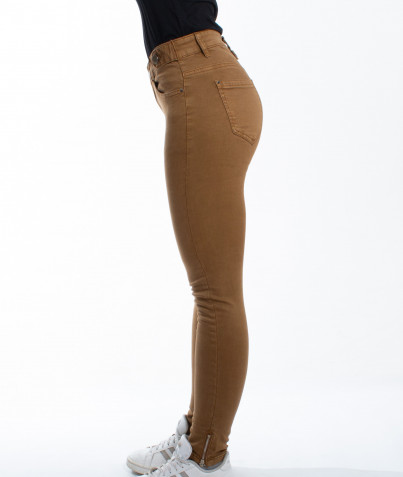 Pantalon Slim Zip Bas de Jambes 3 Coloris