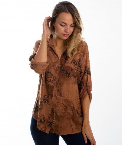 Chemise Camel Viscose Inscription