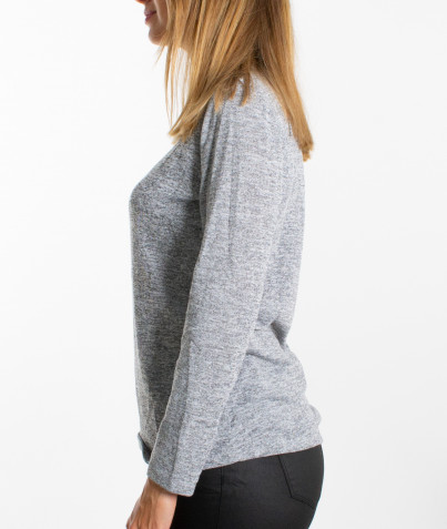 Pull Gris Léger Collier Attenant