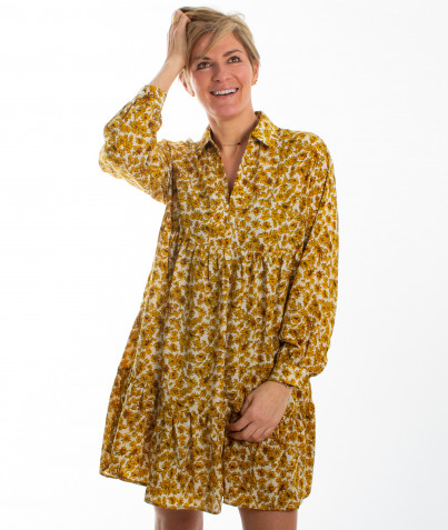 Robe Fleurie Ocre